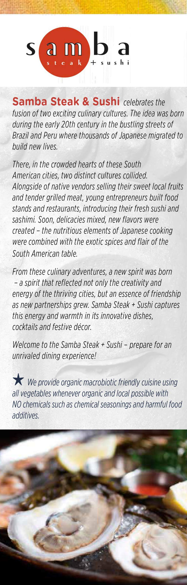 Samba Steak & Sushi Menu